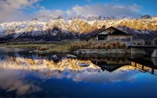 příroda, dům a pohodlí, podzim, Nový Zéland, new зеаланд, hory, jezero, krásně