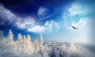 fantastické krajiny, planeta na obloze, mraky, pták, stromy, sníh, zima