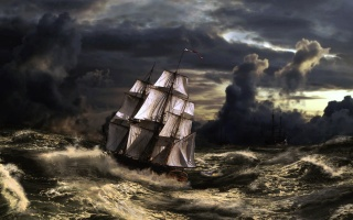 sailboat, ships, storm, boat, clouds