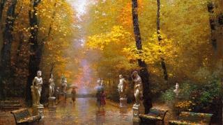 парк, скульптури, лавки, доріжка, опале листя, люди, парасольки, дощ, осінь