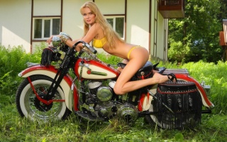 girl, blonde, motorcycle, HARLEY-DAVIDSON