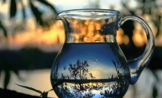 кувшин, вода, пейзаж, отражение