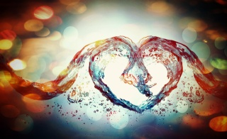 макро, фото, вода, сердце, красиво, фотошоп, работа, тема, Любовь