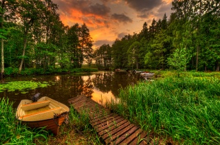 nature, river, Bay, fishing, the rest, beautiful, boat, summer, forest, positive, the sky, sunset
