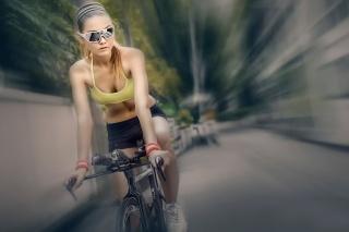 велоспорт, велосипедистка, очки, розмиття