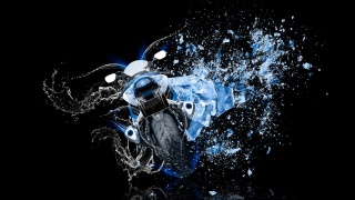 Tony Kokhan, Moto, Suzuki, GSX, R1000, Back, water, bike, ice, Shot, style, blue, Azure, colors, Neon, el Tony Cars, Photoshop, HD Wallpapers, Tony Kokhan, Moto, motorcycle, Suzuki, rear view, water, ice, snow, black, background, the bike, blue, Neon, Wallpaper, art
