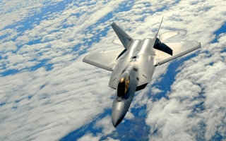 f-22, raptor, war, gun, fly, plane, clouds, sky