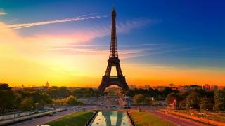 Paris, France, sunset, tower, eifel, sky