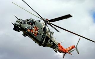 вертоліт, Мі-24, warlfly, зброя, хмари, небо