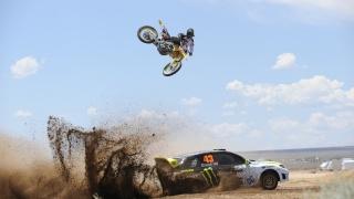race, desert, bike, car, dirty, dust, jump