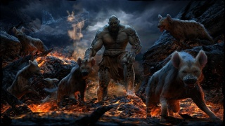 art, Mahmmoud Wrong Ali, hyena, fire, lava, rock, monster, animals, predators