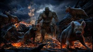art, Mahmmoud Špatně Ali, hyena, oheň, lava, skály, monster, zvěř, dravci