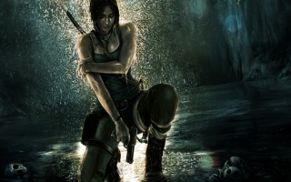 Розкрадачка Гробниць, Лара Крофт, пістолет, черепа, водоспад, цибуля