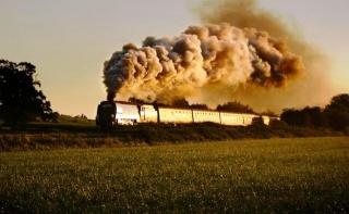 kouř, parní lokomotiva, vlak, na silnici