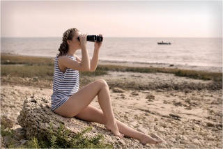 brown hair, view, BINOCULARS, VEST, shore, stones, sand, boat