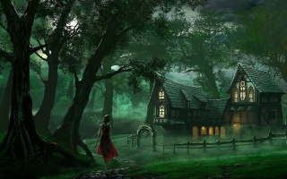 woman, forest, house, old, tree