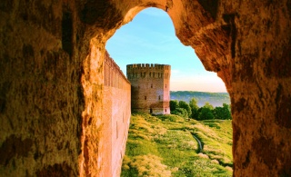 arch, wall, fortress tower, trees, grass