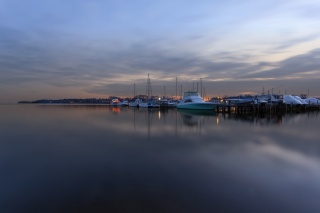 Bay, the harbour, Pier, boats, evening, twilight