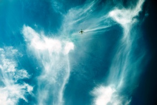 the sky, clouds, flying plane