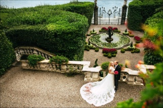 sea, Villa, garden, happy bride