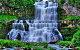 nature, waterfall, rock, stones, cascades, beautiful