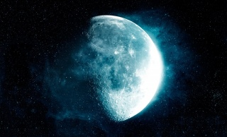 space, the moon, stars, the dark background