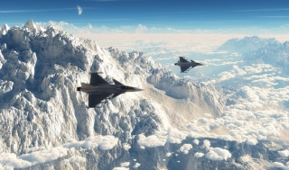 airplanes, fighters, flight, speed, the landscape, mountains, clouds, the moon