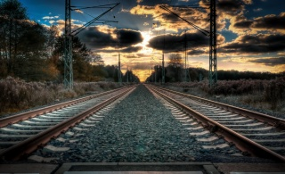 clouds, railway, rails, the road goes into the distance
