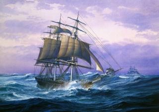 obraz, malování, lodě, plachetnice, moře, krásně, bouře