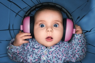 child, headphones, delight