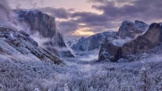 природа, США, йосемитский национальный парк, парк, зима, горы, лес, водопад, красиво, небо, облака, вечер, закат