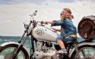 лето, ребёнок, прогулка, настроение, мотоцикл, бочка, бандана