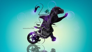 Tony Kokhan, NCR, M4, Fantasy, animal, Moto, bike, Cat, Panther, blue, Violet, black, Plastic, el Tony Cars, Photoshop, Design, art, HD Wallpapers, Tony Kokhan, photoshop, Style, Moto, motorcycle, the bike, Panther, cat, Plastic, Side view, Fantasy, Fantas