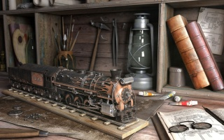 train, lamp, brush, books, tools