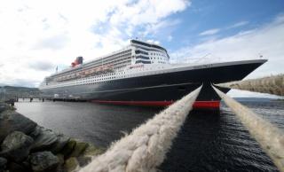 loď, queen mary, kotvení linky, pobřeží, mraky, moře, turistické