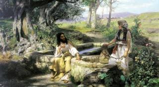 bude, voda, světlo, bible umění, obraz, Jindřich Семирадский, Kristus a самарянка, váza, voda, studna, příběh z bible, krása je v jednoduchosti