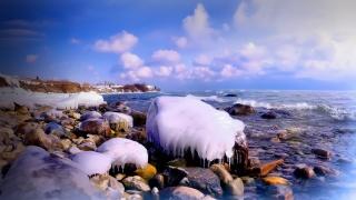 вода, обледенение, уамни, прибой, где-то, уже, зима