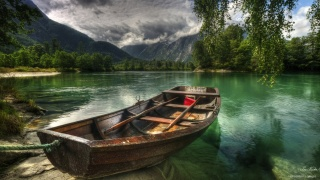 the sky, clouds, mountains, trees, river, boat