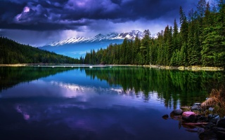 gloomy sky, mountains, forest, river, reflection, coastal boulders