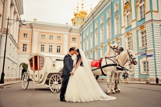 the bride and groom, coach, horses, building, happiness, Love