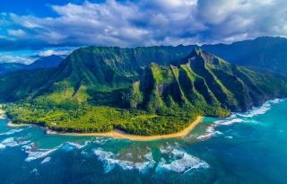 nature, mountains, the ocean, the beach, Hawaii, island, beautiful, the sky, clouds