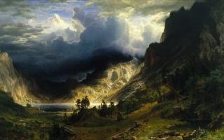 obraz, malování, příroda, hory, zataženo, krásně, lidé, horská řeka, jezero