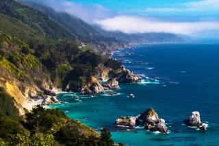the sky, sea, rocky shore, vegetation