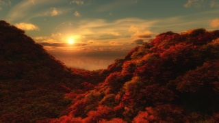 landscape, autumn, mountains, hills, the slope, the ravine, hollow, the trees, crimson, crimson, forest, sea, water, reflection, Mayberry, horizon, the sun, halo, halo, the blue in the sky, Cirrus, layered