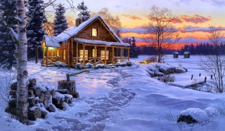 Даррелл Буш, Зимнее Блаженство, живопись, зима, снег, хижина, дом, вечер, огонь, костер, ель, береза, дрова, топор