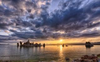 sunset, the lake, primeval nature