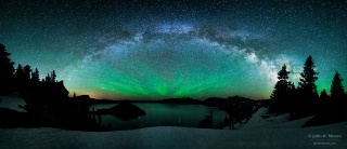 Crater lake, Crater, the volcano, Mount Mazama, Oregon, USA, water, Northern lights