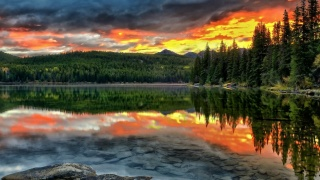 Forest lake, forest, mountains on the horizon, evening