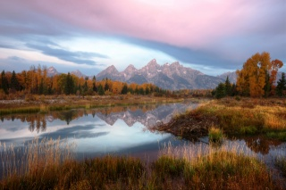 the sky is overcast, mountains, forest, water, autumn landscape