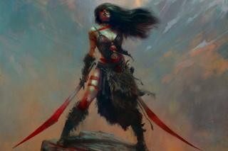 арт, евгений kuciara, девушка, оружие, фэнтези, скала, камень